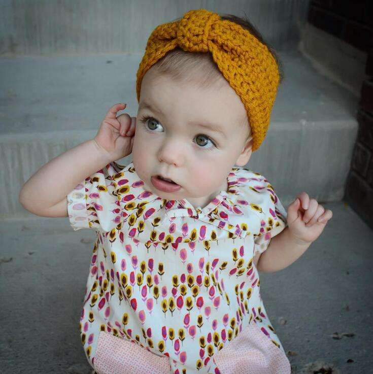 Wholesale Multicolor Lovely Accessories Winter Wrap Warmer Bow Crochet Hairband Custom Baby Girl Headband