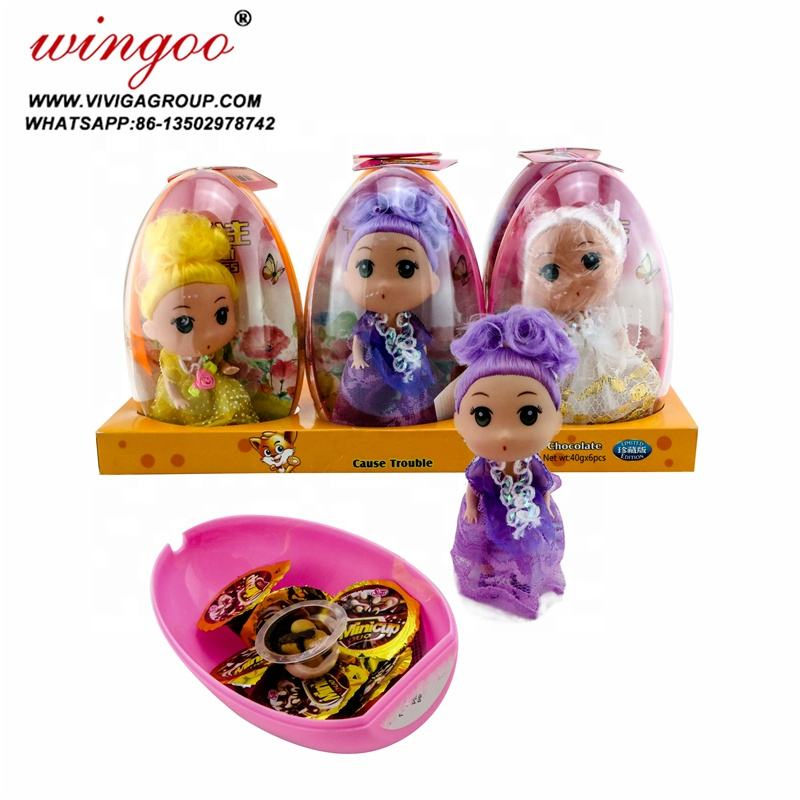 new baby girls doll capsule shaped high quality chocolate candy egg toy candies