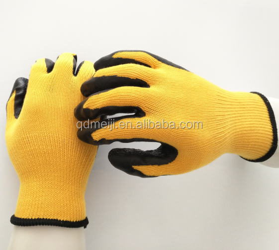 21gauge China good quality yellow color wrinkle latex coated work gloves