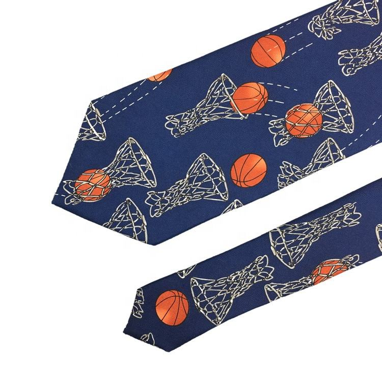 Sports Theme Men's Novelty Fashion Basketballs and Hoops Custom Designer 100% Silk Twill Printed Fever Luxury Basketball Necktie