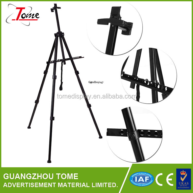 Easel Black Aluminum 71 Inches Tall Portable Lightweight and Sturdy Telescoping Tripod Perfect for Field Display