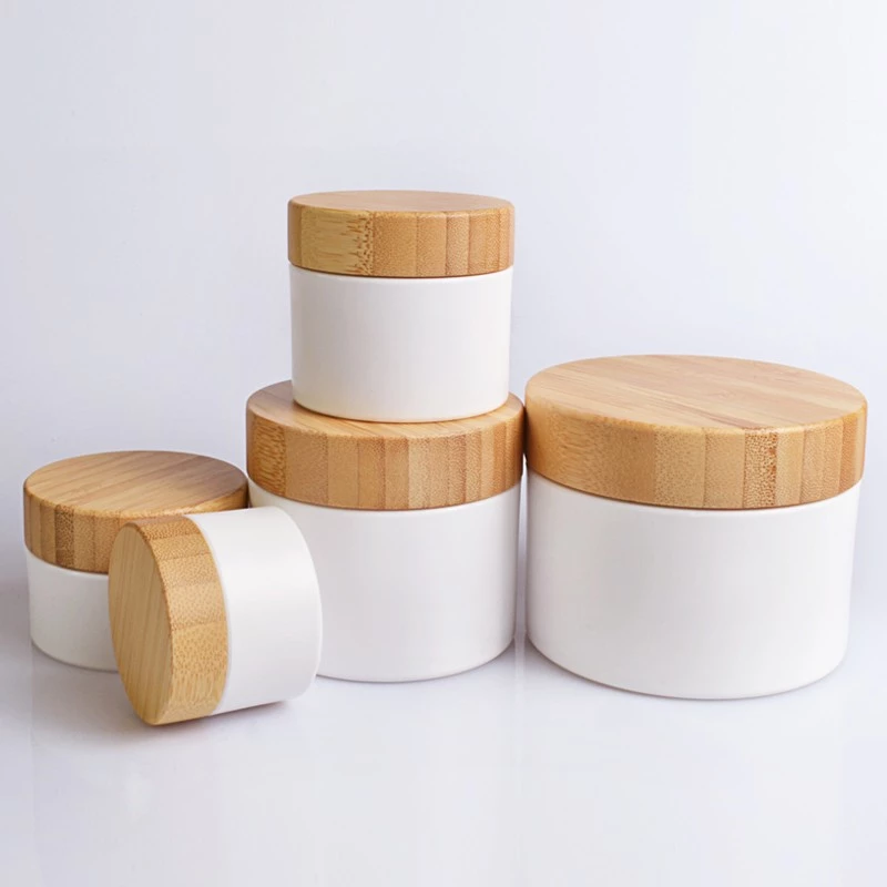Personal skin care packaging 10g 30g 50g 100g 150g 250g pp plastic cosmetic cream jar with bamboo lid