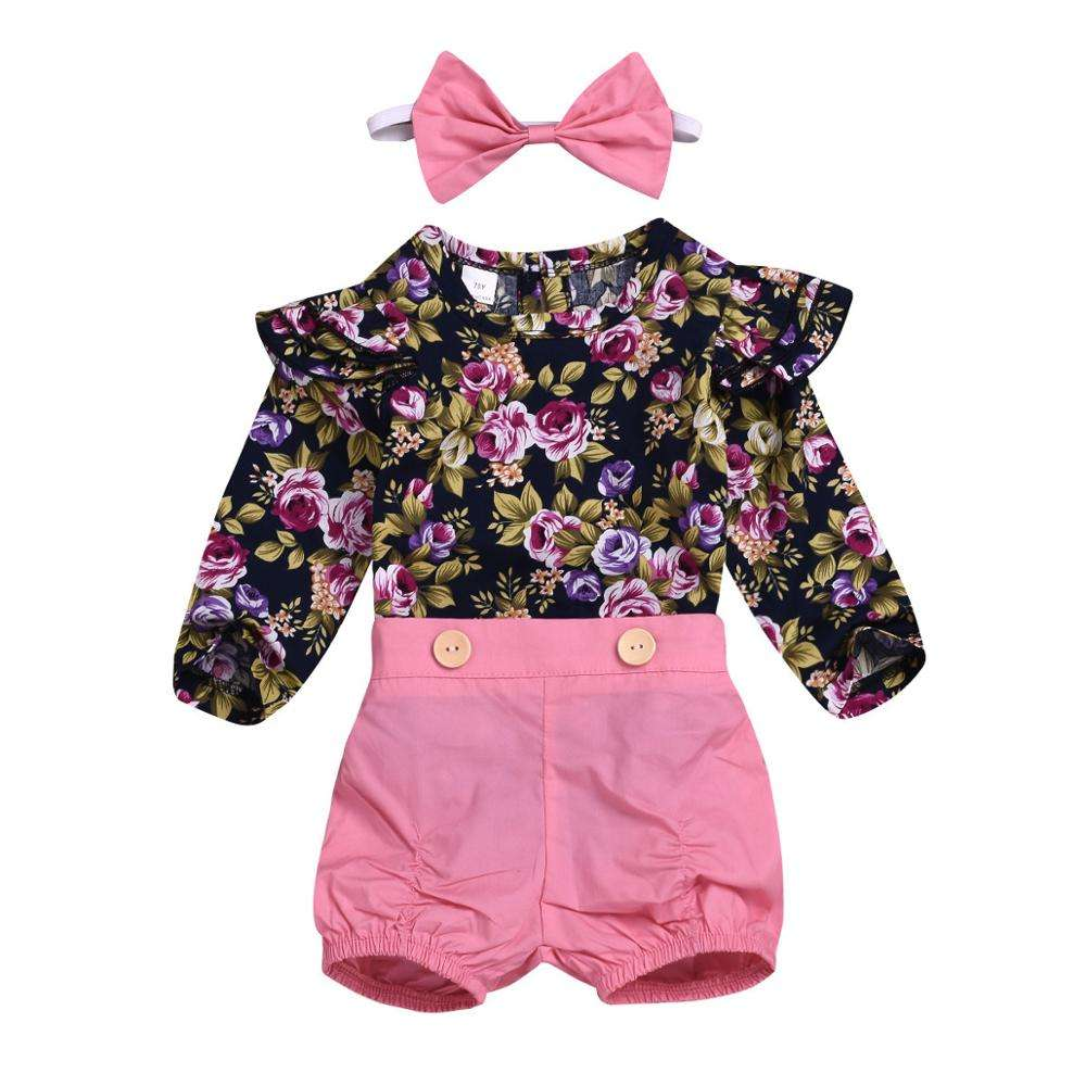 2019 hot high quality summer wholesale floral romper shorts scarf three-pcs bulk fashionable boutique cotton baby clothing sets
