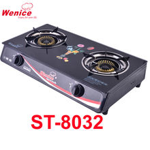 NEW MODEL 2 BURNER GOOD QUALITY GLASS GAS STOVE GAS COOKER8032