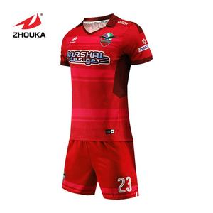 Latest top quality soccer jerseys red color custom authentic soccer jerseys for sale
