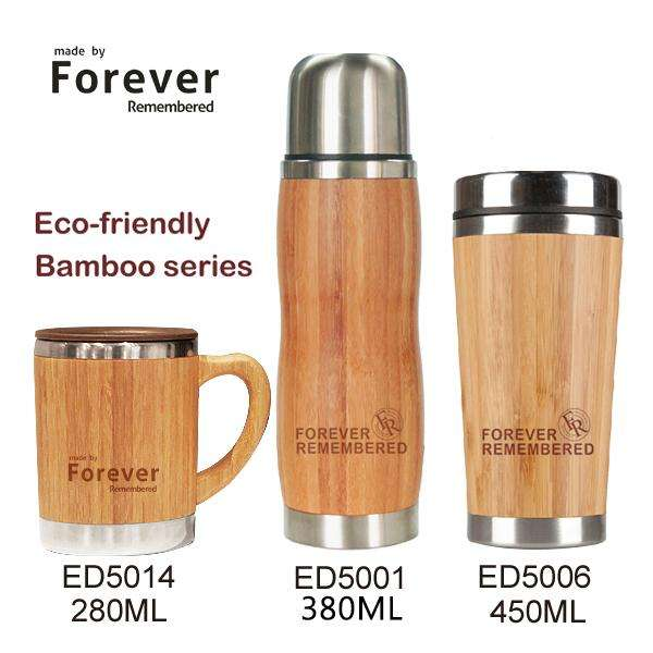 Elegant shape 450ml Bamboo vacuum flask with slide lock lid, Insulated Stainless Steel Bamboo Coffee Mug/Coffee Set/Moka Cup