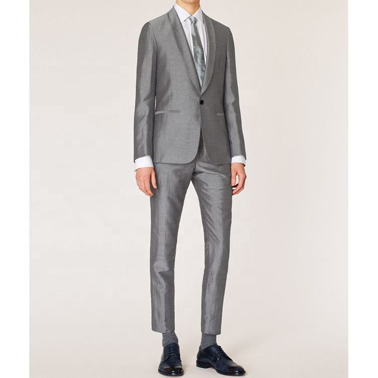 silver shiny gorgeous luxury exquisite slim MTM dress tuxedo wedding party linen light grey iron silk suit men
