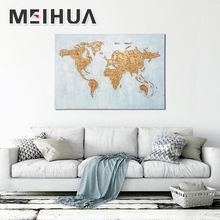 Modern Art Work Oil Painting World Map On Canvas With Frame