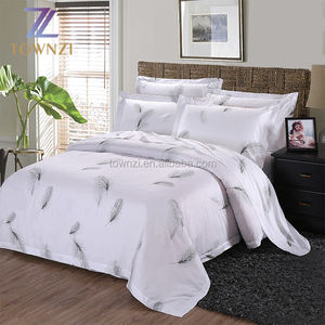 Wholesale Luxury 100% Cotton White Jacquard Weave Customized Logo Hotel Queen Bed Set