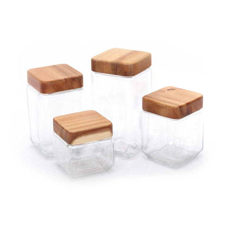 Square Shape Glass Canister Storage Jar Set With Acacia Wooden Lid