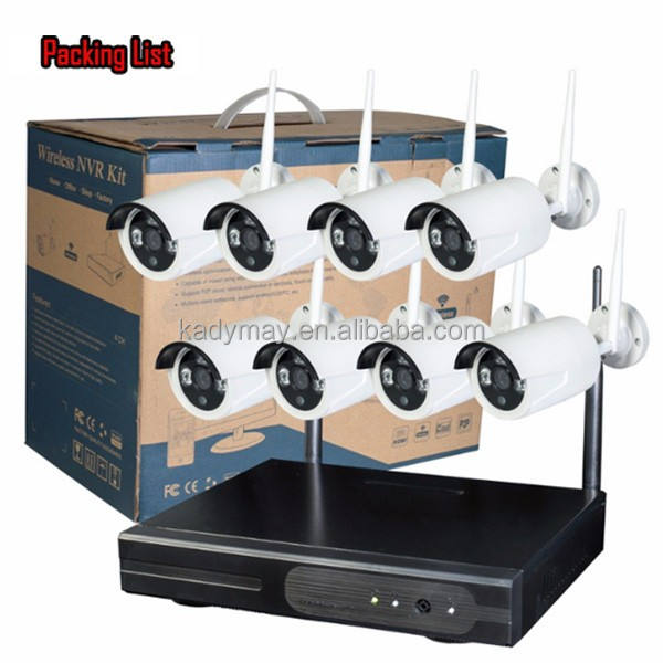 IP Network Wireless 1MP 720P HD 8 cameras cctv system