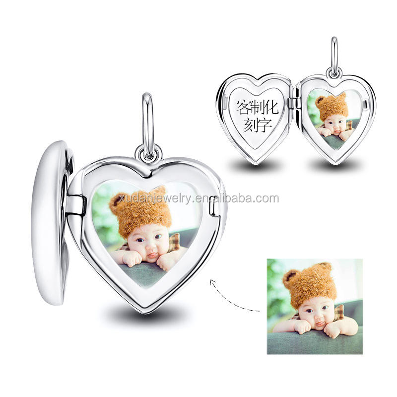 Openable Personalized Memorial Photo Locket 925 Sterling Silver Heart Shape Setting Locket Pendant