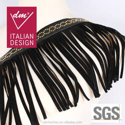 Wholesale black pu fringe trim with gold stud for garment LTR0141