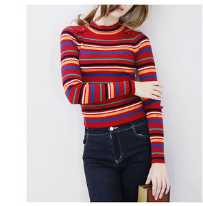 2019 Spring new slim custom color striped long-sleeved round neck pullover wool sweater women's sweaters