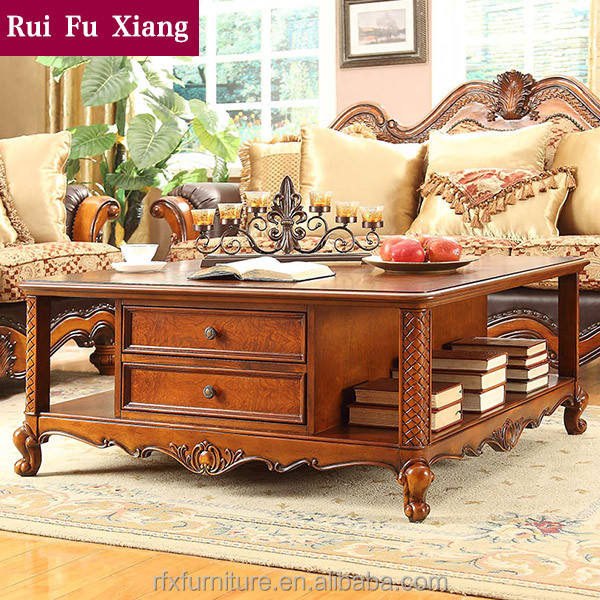 British rural style living room square coffee table in the home center P-205