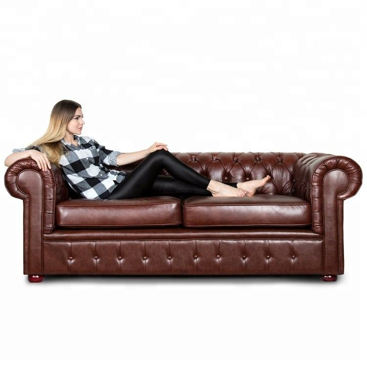 China Wholesale OEM/ODM European Style Multi-color Genuine Leather Chesterfield Sofa For Hotel Project
