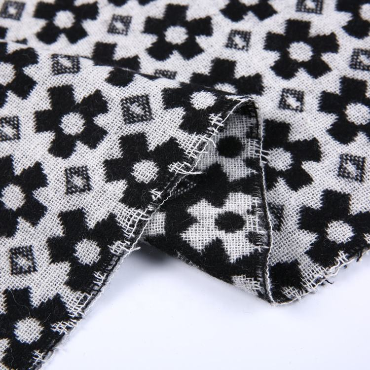 Wholesale black flower clothing tissue fabrics poly woven cashmere wool tweed fabric for coat