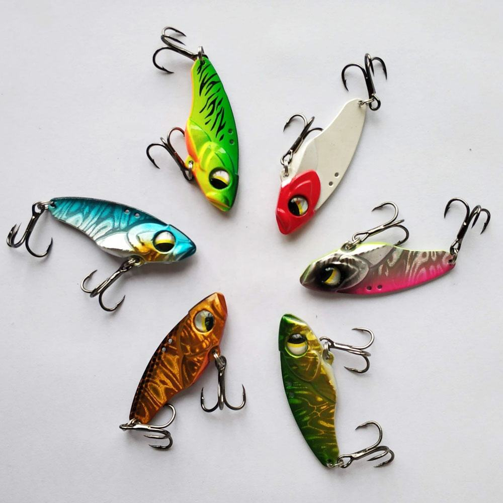 Wholesale 4.5cm 11g 5cm 14g artificial fishing blade metal vib spoon fishing lure with hook