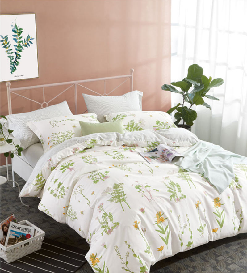 Chic Home 4 Piece Pieced Color Banding Cotton Comforter Set Bedding King Size Bed Sheet Set