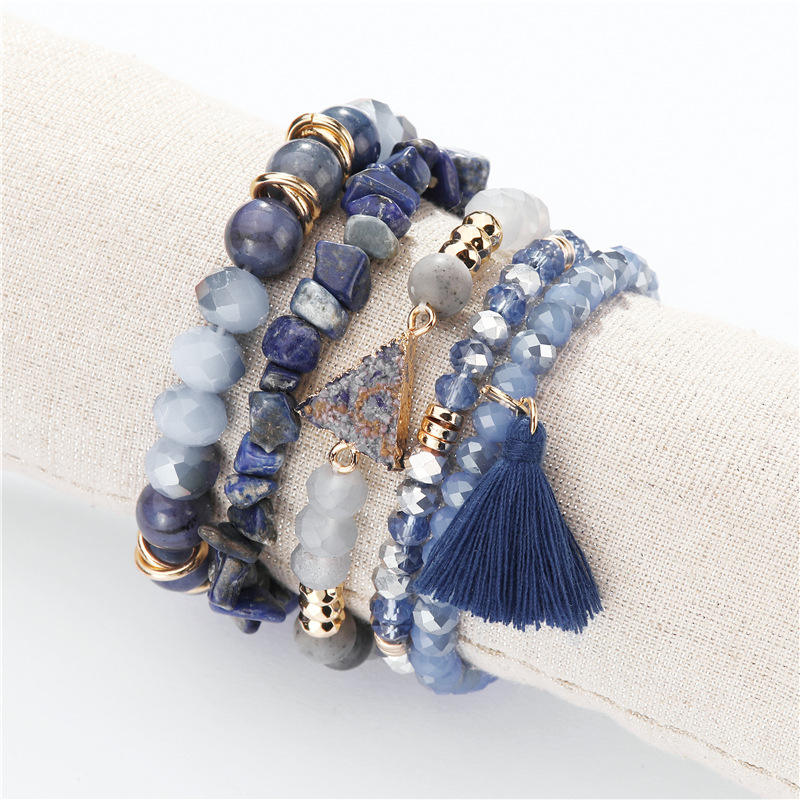 5 pcs pack Natural Edge-wrapped Stone Crystal Bead Crushed Stone Spike tassels charm Bracelet