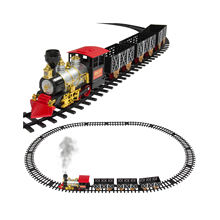 Classic Holiday Christmas Train Set with Real Smoke - Authentic Lights, and Sounds - A Full Set with Locomotive Engine, Cargo Ca