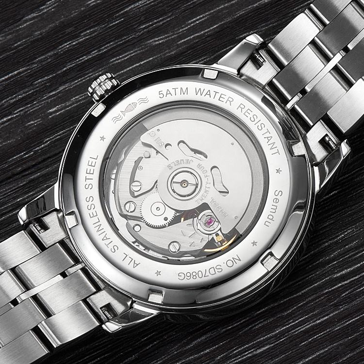 Ready to ship 2019 Amazon New Men Skeleton transparent back Japan Automatic Watch