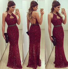HT-WD popular hot red women lady fancy lace long dress gown bandage evening formal dress