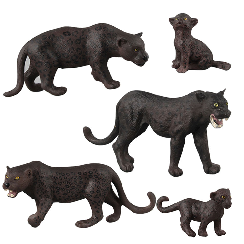 Zoo Wild Animal Set Panther Family Model Figures Toy