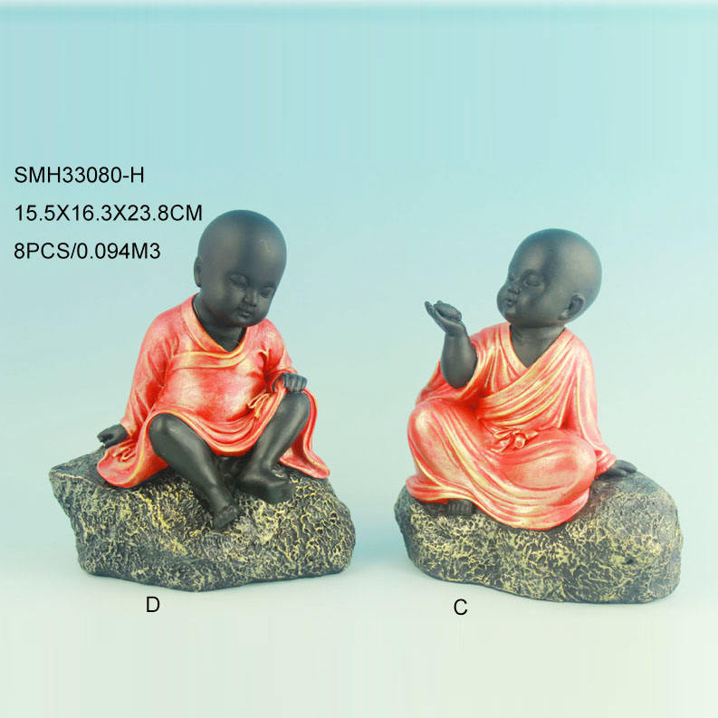4/s resin cute thinking baby monk statue
