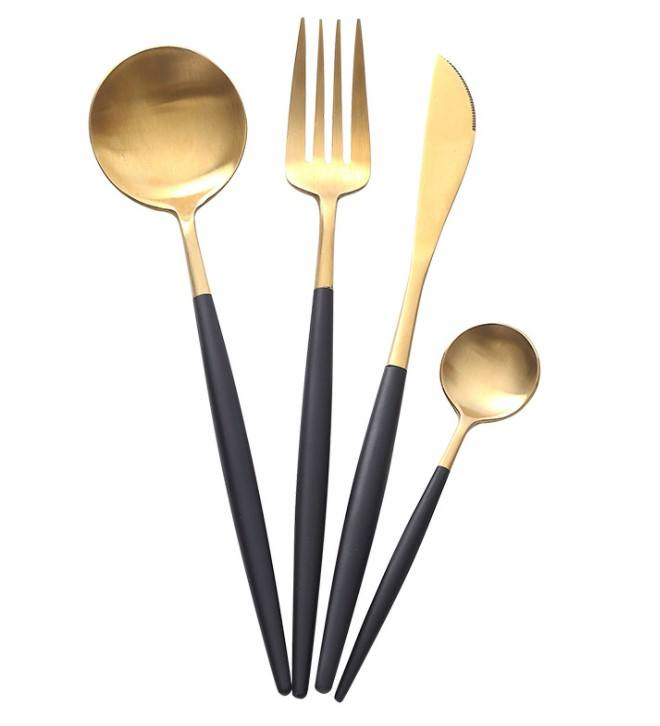 Wholesale cutlery stainless steel knife and forks Vintage gold cutlery for wedding banquet