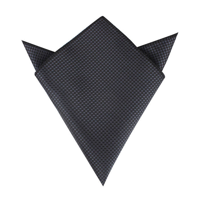 logo woven pocketsquare black color series wholesale handkerchief pocket square polyester WPS010