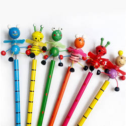 Wooden Animals kawaii students Pencil With Shakable Head chi