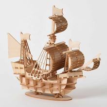Wood Craft Kits Desk Decoration Assembly Model Laser Cutting DIY Sailing Ship Toys 3D Wooden Puzzle Toy