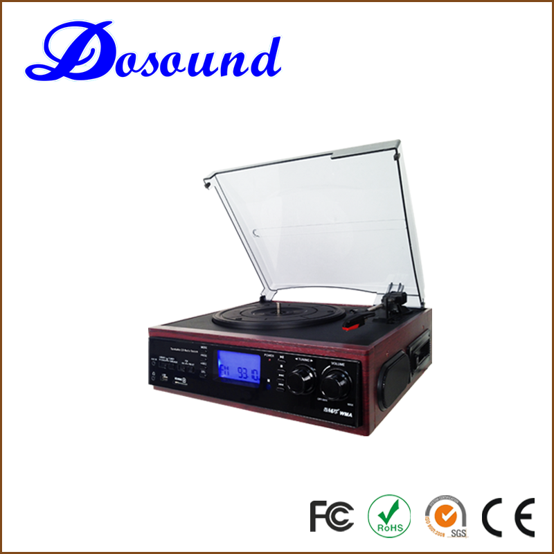3 speed retro portable phonograph electric gramophone turntable player with USB/SD record and play function