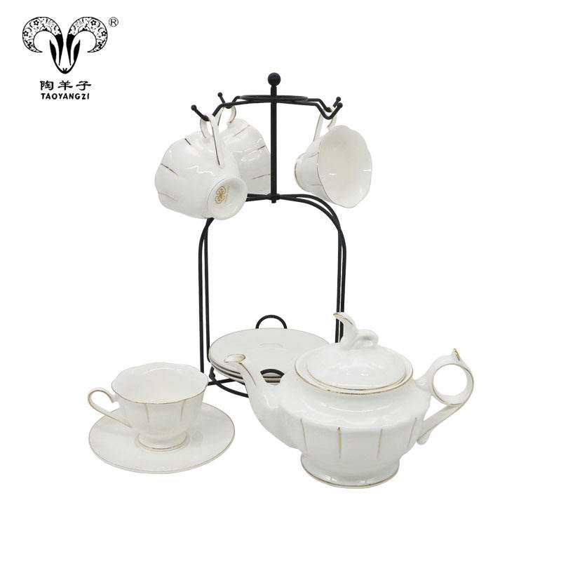 2020 new luxury arabic bone china 1 pot 6 cup 6 saucer coffee set for home