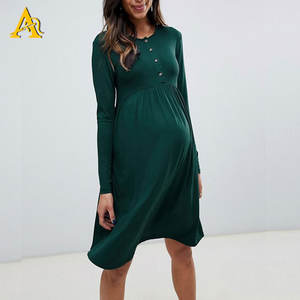 Dongguan High Quality Fashion Maternity Dresses Wholesale Pregnancy Clothes Long Sleeve Nursing Dress