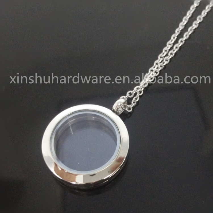 Wedding Crystal Glass Locket Necklace Floating Charms Mirror Locket Pendant