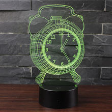 Wholesale 3D Optical Illusion Lamp USB Alarm Design Bedside Lamp Led Night Light Alarm