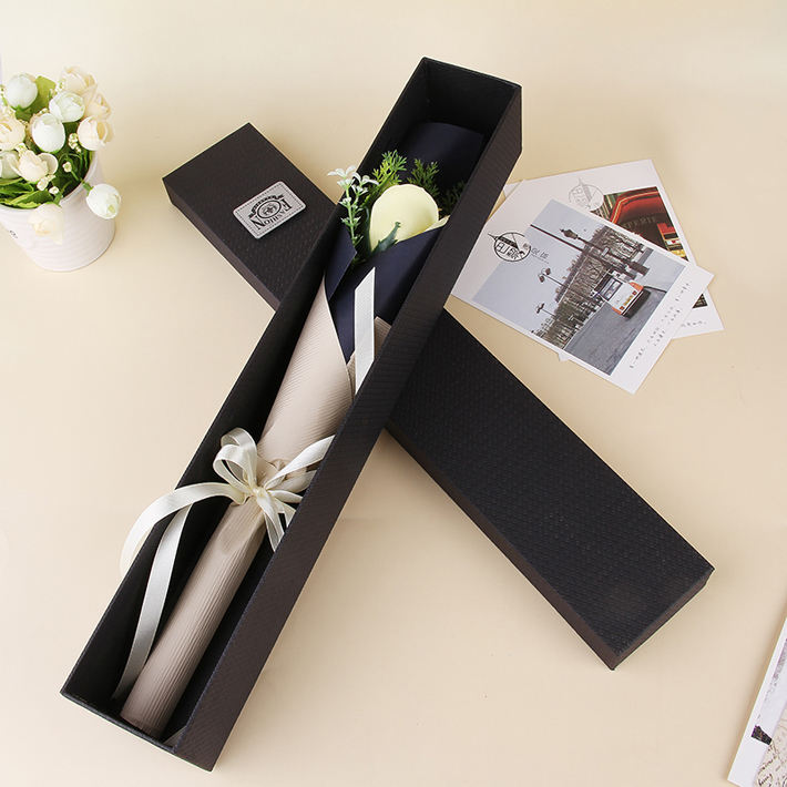high quality texture paper single rose flower box