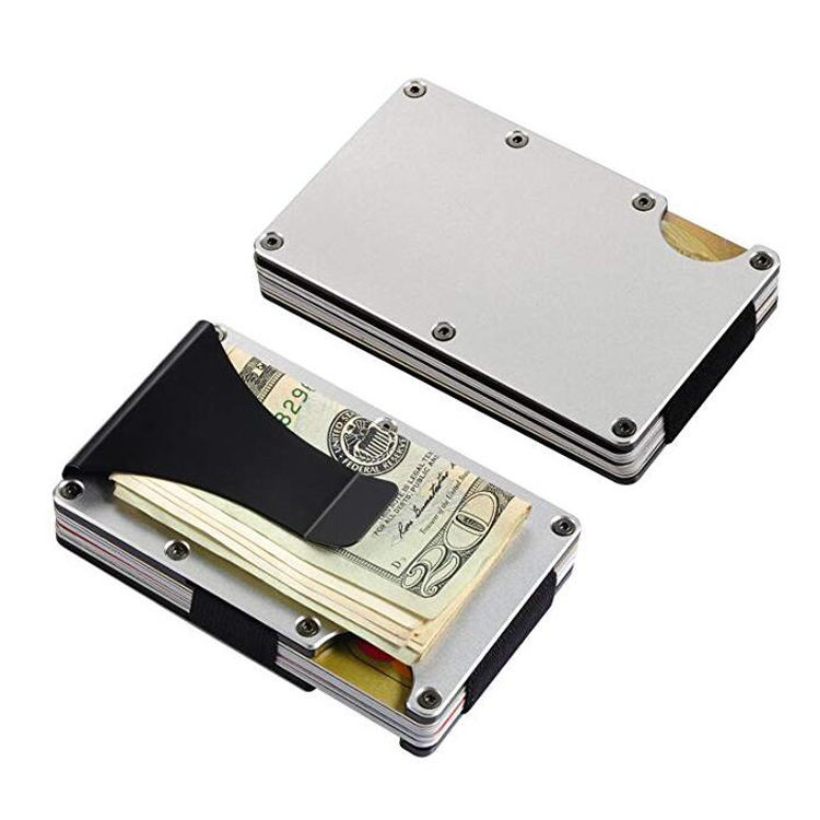 Metal Money Clip Card Holder Aluminum Slim Men RFID Blocking Wallet