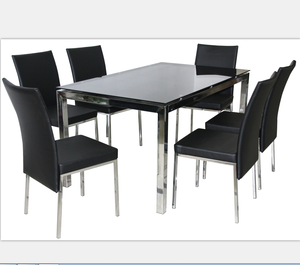 Glass Dining Table Set 1+6 Modern Design Dining Table Chair Set Used Living and Dining Room