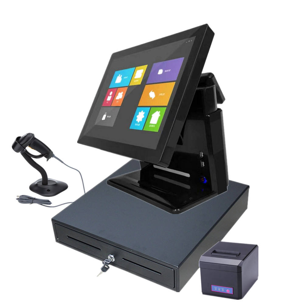 LKS-POS820 New design all in one full flat touch screen pos terminal with bright shell