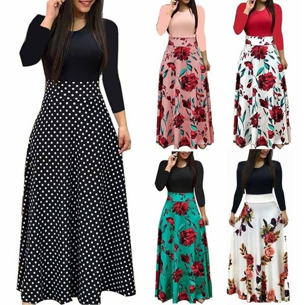 Women Sexy Bohemia Strips Floral Printed Long Sleeve Maxi Dresses Lady Casual Wear Dress