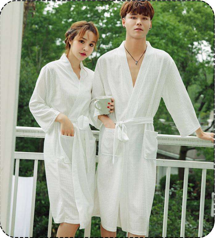 Factory cheap Couples Hotel bathrobe spa robes wholesale 100% Knitted Cotton polyester robe