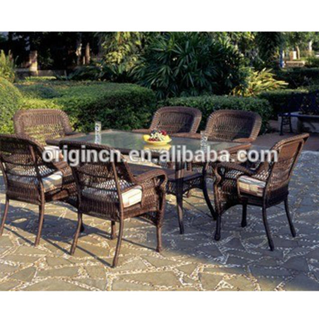 6 seater glass top design restaurant outdoor wicker vintage dining furniture garden sets tables and chairs ratan