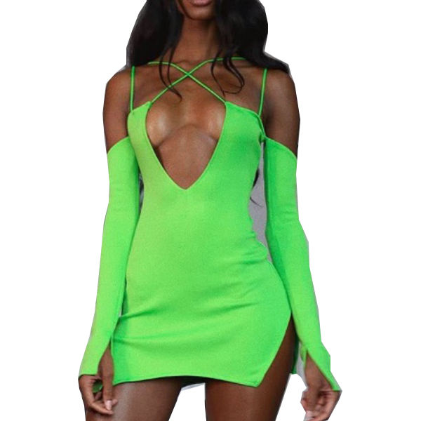 2019 Autumn Neon Color Mini Dress Deep V Neck Sexy Skinny Women Party Bandage Dress