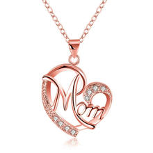 Mother's Day Gift Letter Mom Crystal Heart Pendant Necklace Luxury Rose Gold Plated Mom with Hollow Heart Drop Necklace