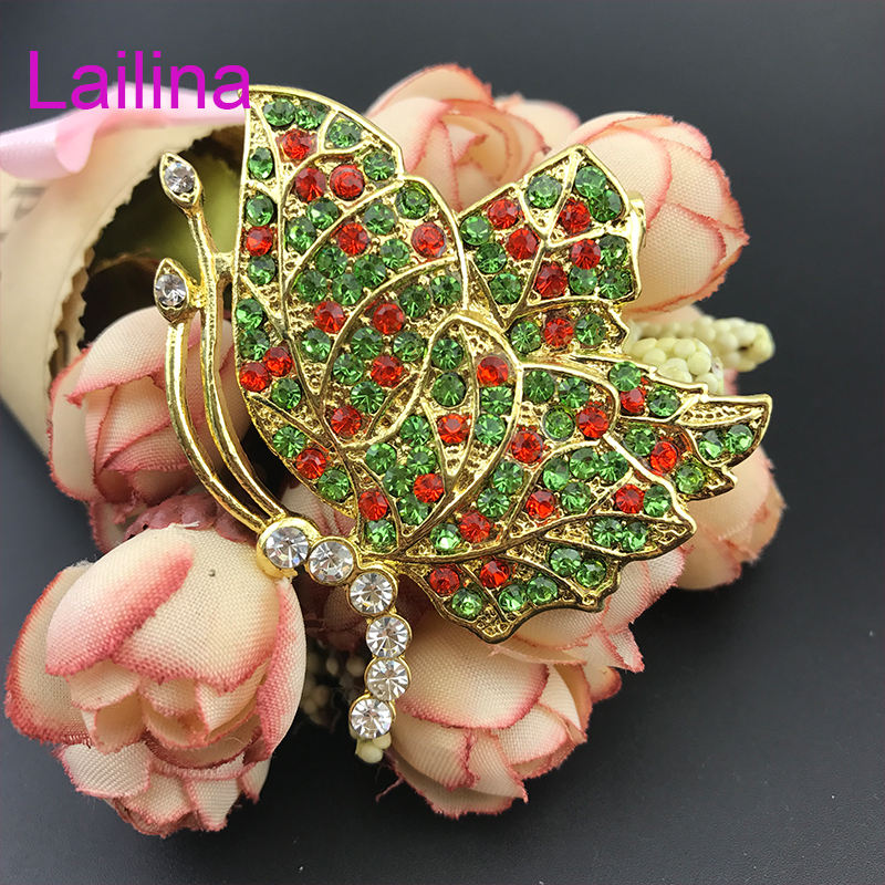 65mm Mixed colors rhinestone brooch Gold tone butterfly broach