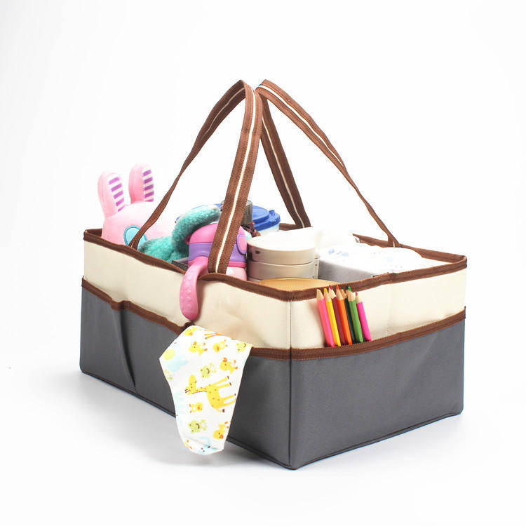 Multi function foldable cotton baby diaper caddy nursery organizer nappy storage tote bag