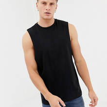 New Design Plain Athletic Tank Top Black 100% Cotton Sleeveless Gym Men Tank Top